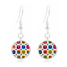 Abstract Art Tibet Silver Dome Photo Art 16MM Glass Cabochon Long Earrings #14