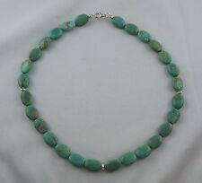 Kette Halskette echter TÜRKIS Oval - Perlen mit 925er Silber Karabiner 42,5 cm
