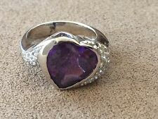 Heart Amethyst Angled Sterling Silver 925 Ring - Size 7.5