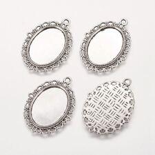 200PCS Zinc Alloy Cabochon Pendant Settings Jewelry Making Oval Antique Silver