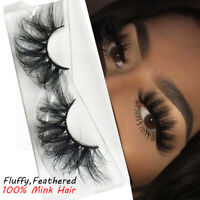 SKONHED 25MM 3D Mink Hair False Eyelashes Thick Long Wispies Fluffy Lashes