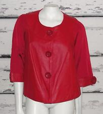 NYGARD COLLECTION~LEATHER & KNIT RAYON~3/4 SLEEVES~CROP BLAZER JACKET (M 10-12)