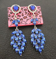 Women's Blue Crystal Rhinestone Leaf Betsey Johnson Stud Earrings