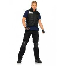 4 Piece SWAT Commander Vest Shirt Knee Pads Gloves Halloween Costume Cosplay O/S
