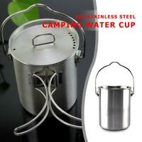 750ml Stainless Steel Water Cup Outdoor Camping Hang Pot Mug Foldable Handle