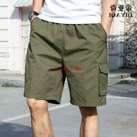 New Mens Loose Fit Mid Long Casual Summer Cargo Army Comfy Cargo Shorts Pants