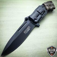 "8"" Combat Spring Assisted REVOLVER PISTOL Gun BLACK Folding OPEN Pocket Knife"