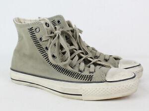 Converse John Varvatos X Artisan Stitch High Drill Gray Leather Shoes, 8 Hi-Top