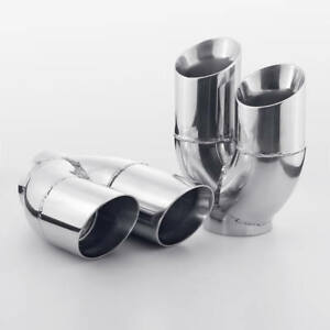 """Dual Wall Exhaust Tips 3"""" Inlet Stainless Steel Quad 3"""" Out Staggered Pair 8"""" L"""