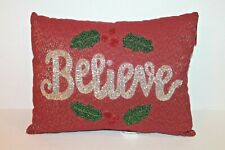 "St Nicholas Square Christmas ""Believe"" Decorative Beaded Throw Pillow NEW"