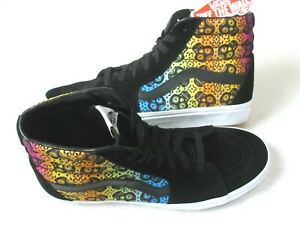 Vans Sk8-Hi Mens Dia De Los Muertos Skulls Canvas Suede Skate shoes Size 11 NEW
