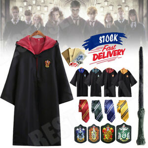 Harry Potter Costume Adult Gryffindor Ravenclaw Slytherin Hufflepuff Robe Cloak