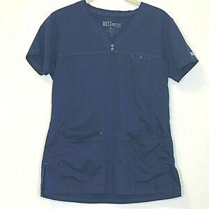 Greys Anatomy Womens Scrubs Top Small Navy Blue Style 41340