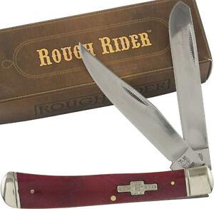 Rough Rider Red Smooth Bone Handles Trapper Pocket Knife RR431 2 Folding Blades