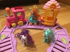 My Little Pony Train Set, Tracks, and RARE Ice Cream Car, 3 Ponies, All in 1 Lot