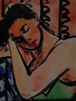 ORIGINAL ART COLORFUL FAUVIST WOMAN RESTING