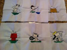 "6 Snoopy machine embroidered quilt blocks, 8""x 8"""