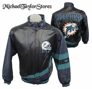 Miami Dolphins Men's M or L Authentic Embroidered Leather Jacket