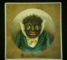 A Jolly Christmas Card Litho Black Americana Vintage  R Tuck & Sons~CREEPY!