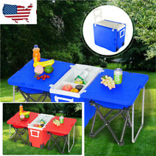 Foldable Multi Function Rolling Cooler Picnic Camping Outdoor w/ Table & 2 Chair