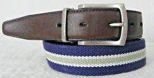 VG+ CASUAL BLU/GRN/WHT WOVEN & REVERSE TO BROWN LEATHER  BELT - 30""