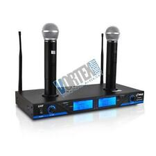 New pyle 2 channel UHF 2 Microphone System w/ Rechargeable Dock LCD Display