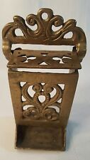 Vintage Wall Mount Solid Brass Match Box Holder~Kitchen/Fireplace Accessory 78
