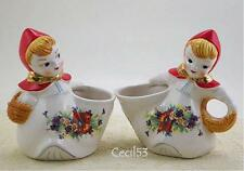 LITTLE RED RIDING HOOD CREAM AND SUGAR SET w GOLD TRIM - SHIPS FREE