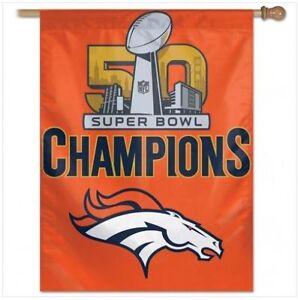 "NFL Denver Broncos Super Bowl 50 Champs Wincraft 27"" x 37"" Vertical Flag NEW!"