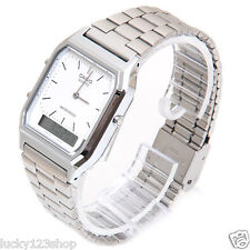 AQ-230A-7D White Casio Watch Vintage Silver Analog Digital Stainless Steel Band