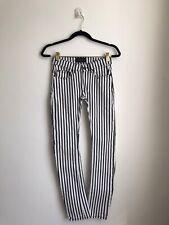 Designer Finger In The Nose White Black & White Striped Girls Jeans 12-13 Years