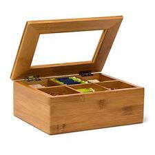 Relaxdays Boîte À Thé en Bambou 6 compartiments Coffret Sachets Vrac HxLxP 9 x