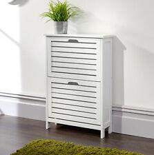 Shoe Storage Cabinet 2 Tier White Slatted Cupboard Doors Scandanavian Style
