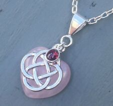 Rose Quartz Heart & Garnet 4 Element Celtic Knot Pendant Chakra Wicca Reiki