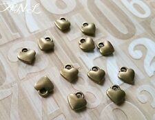 50 Heart Charms Antiqued Bronze Miniature Heart Charms BULK Charms Lot