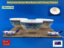 Set of 3 New Melamine Dinner Rice Soup Bowls with Flower Pattern (B75)