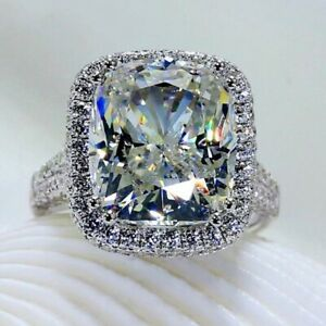 6.00 CT Cushion Cut Diamond Engagement Wedding Halo Ring Solid 14K white Gold