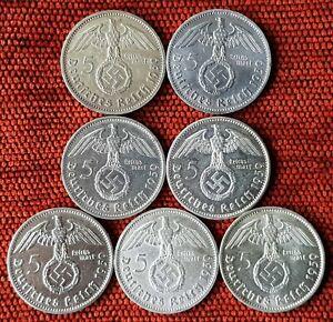 UNIQUE 7 x Mint Set 5 ReichsMark 1939 Nazi Silver Coin Inc B Mint AU Lot 2