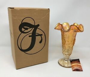 Fenton Art Glass Marigold Crystal Vase - New With Box and Tags! #5751 5J