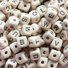 Hot 50Pcs Natural Mixed A-Z Alphabet/ Letter Cube Wood Beads DIY Craft 10x10mm