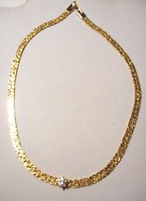 VTG gold tone Chevron necklace with a 1 carat clear CZ. (Cubic Zirconia)