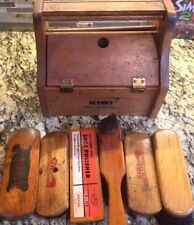 Vintage Kiwi Shoe Groomer In Wooden Box With Brushes