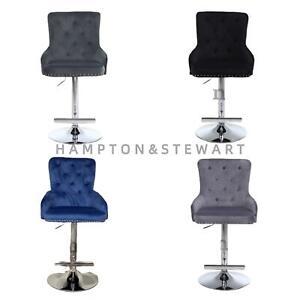 Lion Knocker Quilted Tufted  Plush Velvet Chrome Bar Stools Black, Blue, Grey