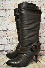 Womens Bronx Brown Leather Pull On High Heel Mid Calf Boots UK 6.5 EUR 40