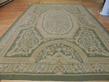 Beautiful Large French Aubusson Style Area Rug 10x14 Oriental Area Rug Green