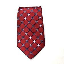 Saddlebred Mens Red Geometric Pattern Silk Neck Tie 59x3.5