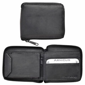 Mens Soft 100% Leather Wallet, ID Window, Zip And Coin Pocket BLACK X 10 JOB LOT
