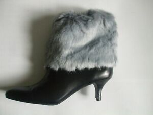 """New Faux Fur A pair Leg Warmer Fuzzy Charm Boots Shoes cover Cuff 5-15"""" Gifts"""