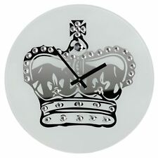 Premier Housewares Wall Clock, Glass, Crown with Diamantes