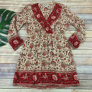Lucky Brand Long Sleeve Dress Size L Cream Red Paisley Floral Knee Length